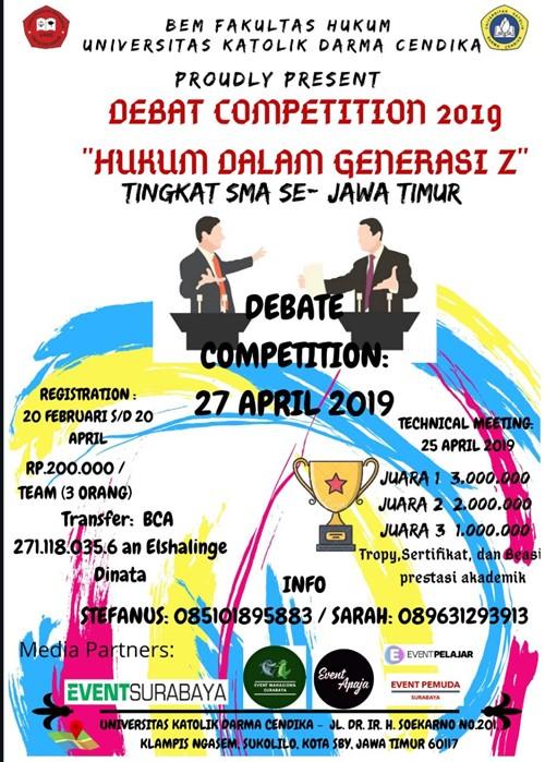 """Debate Competition 2019 """"Hukum Dalam Generasi Z"""""""