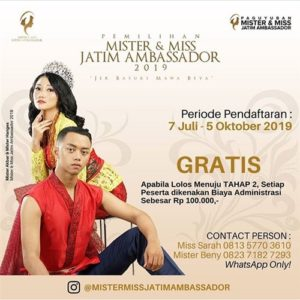 "Pemilihan Mister & Miss Jatim Ambassador 2019""Jer Basuki Mawa Beya"""