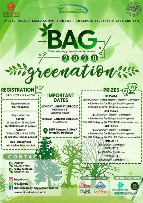 "BAG, Biotechnology Application Games 2020 ""Greenation"""