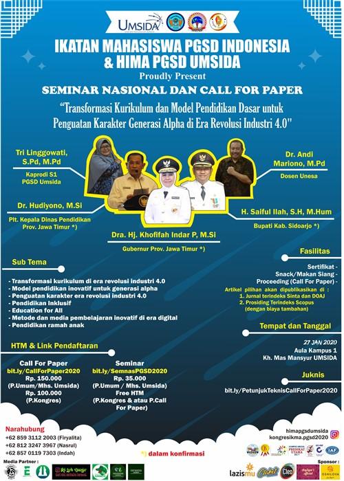 Seminar Nasional & Call For Paper Ikatan Mahasiswa PGSD Indonesia & HIMA PGSD UMSIDA
