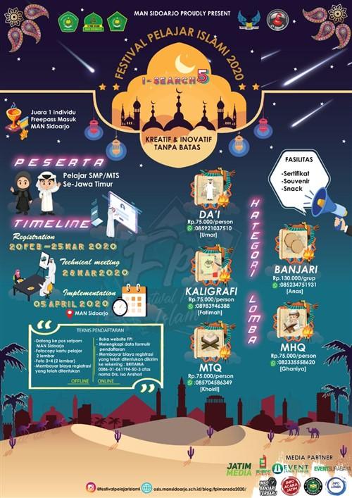 """FPI (Festival Pelajar Islam)I-SEARCH 5 """"Kreatif dan Inovatif Tanpa Batas"""""""