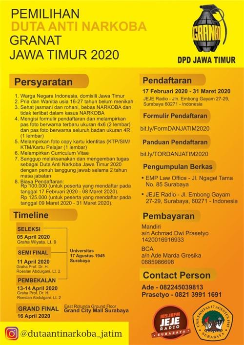 Pemilihan Duta Anti Narkoba Granat Jawa Timur 2020