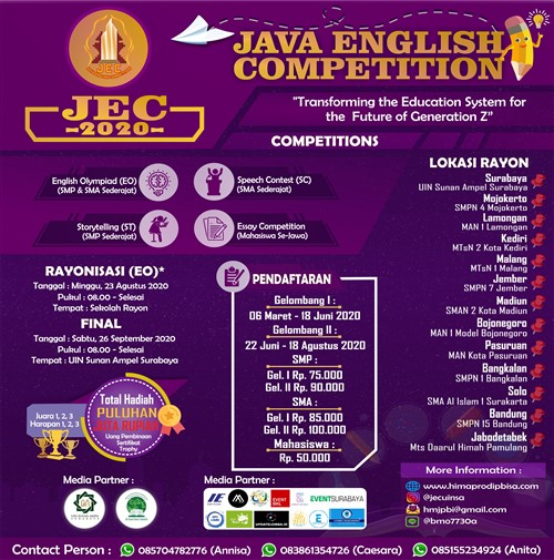 """JAVA English Competition 2020 """"Transforming the Education System for the Future of Generation Z"""""""