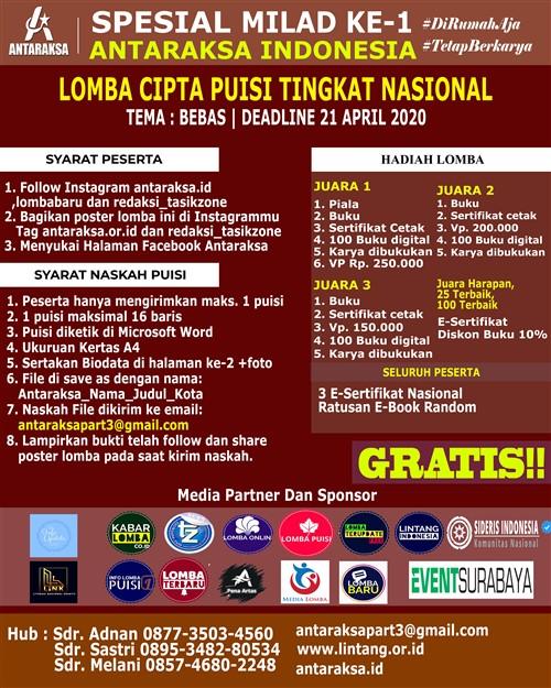 Spesial MILAD Ke-1 Antaraksa Indonesia : Lomba Cipta Puisi Tingkat Nasional