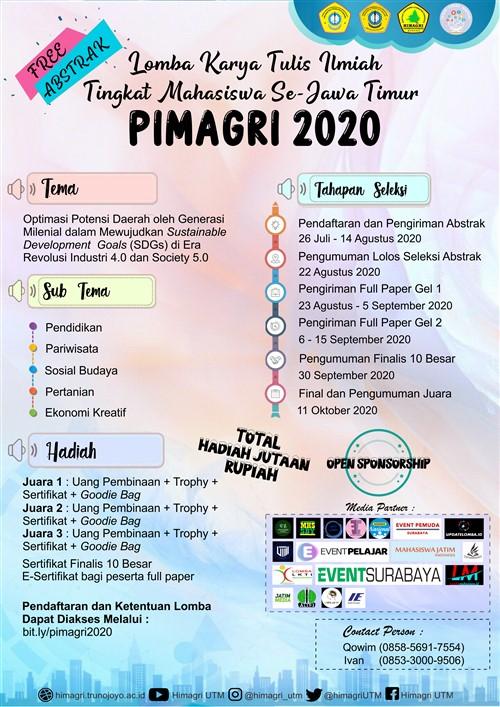 PIMAGRI 2020, Lomba Karya Tulis Ilmiah Tingkat Mahasiswa Se – Jawa Timur