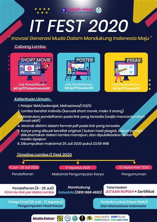 """IT FEST 2020 – """"Generasi Muda dalam Mendukung Indonesia Maju"""""""