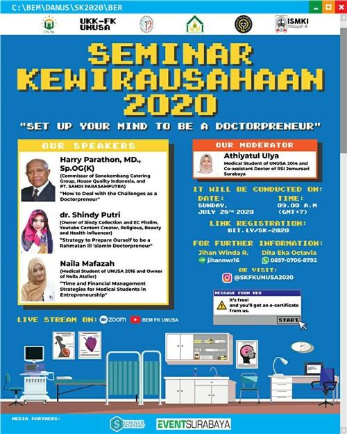 """SEMINAR KEWIRAUSAHAAN 2020 """"Set Up Your Mind To Be Doctorpreneur"""""""