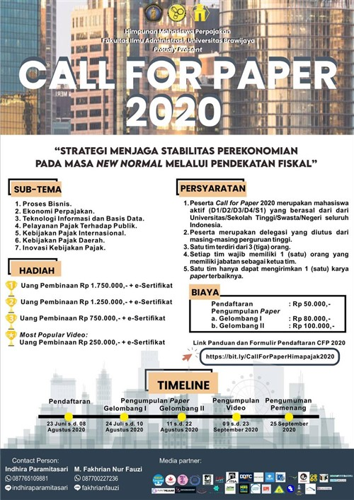 TAX SERIES – Call For Paper 2020