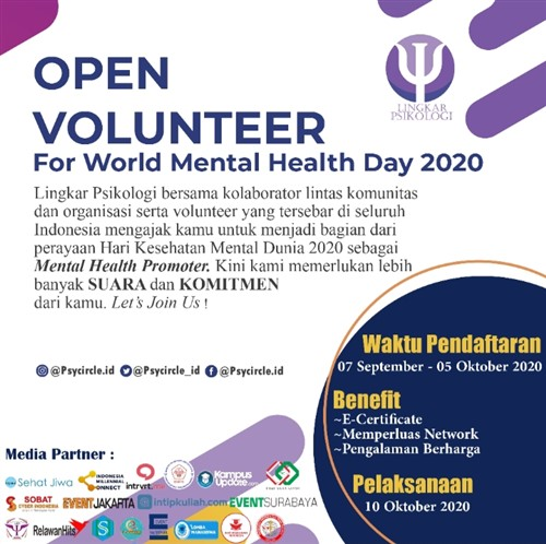 Volunteer Needed For World Mental Health Day Celebration 2020 Eventsurabaya
